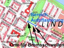 Stadtplanausschnitt und Maßnahmenalternativen